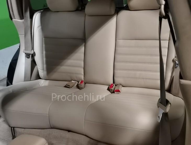 Каркасные авточехлы на Subaru Forester 2 (SG5) из бежевой экокожи №5