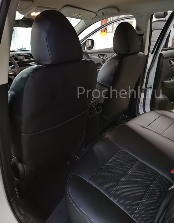 Каркасные чехлы на Nissan Qashqai 2 (2020) из черной экокожи №5