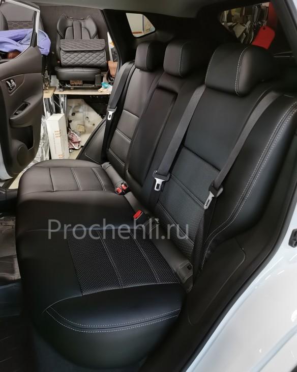 Каркасные чехлы на Nissan Qashqai 2 (2020) из черной экокожи №6