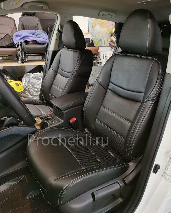 Каркасные чехлы на Nissan Qashqai 2 (2020) из черной экокожи №1