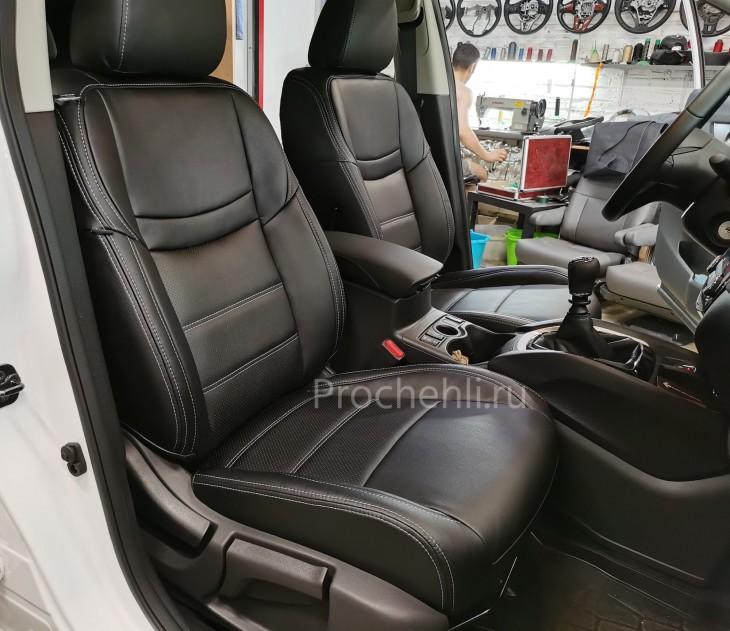 Каркасные чехлы на Nissan Qashqai 2 (2020) из черной экокожи №2