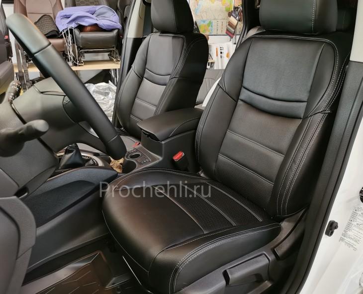 Каркасные чехлы на Nissan Qashqai 2 (2020) из черной экокожи №4