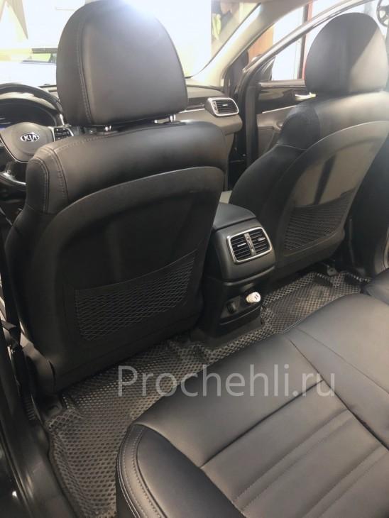 Каркасные авточехлы для Kia Sorento 3 Prime из черной экокожи №2