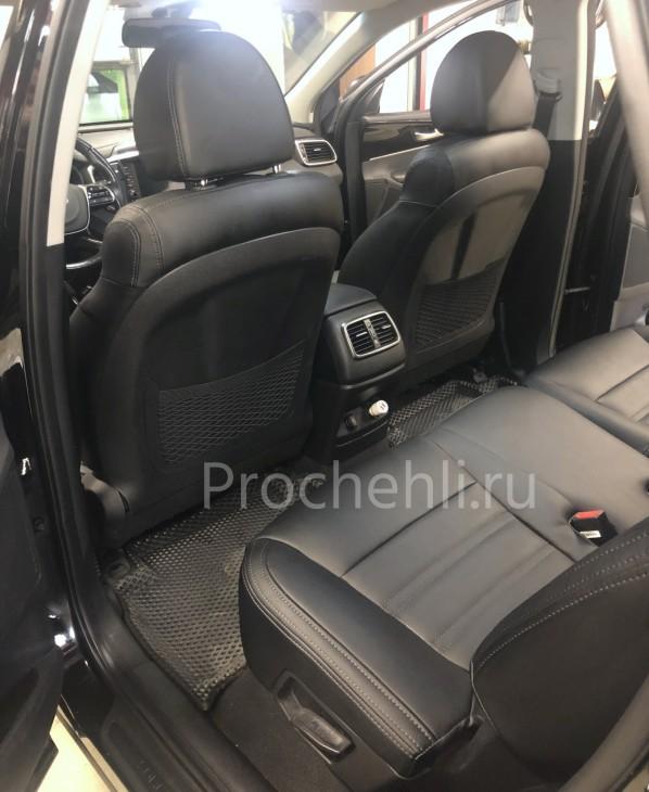 Каркасные авточехлы для Kia Sorento 3 Prime из черной экокожи №9