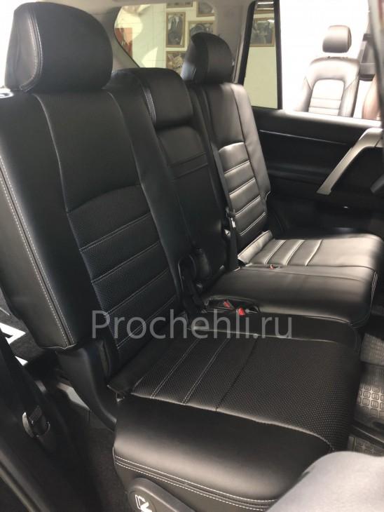 Каркасные авточехлы на Toyota LC Prado 150 2021 из черной экокожи №3