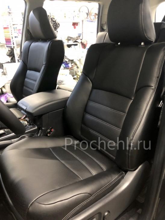 Каркасные авточехлы на Toyota LC Prado 150 2021 из черной экокожи №2