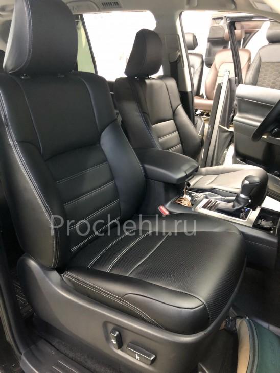 Каркасные авточехлы на Toyota LC Prado 150 2021 из черной экокожи №1