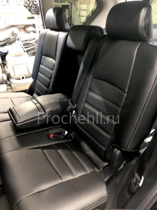 Каркасные авточехлы на Toyota LC Prado 150 2021 из черной экокожи №5