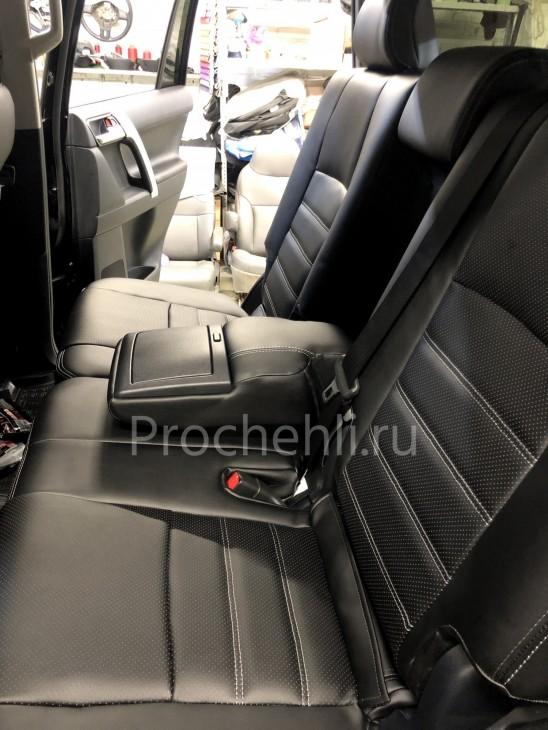 Каркасные авточехлы на Toyota LC Prado 150 2021 из черной экокожи №6
