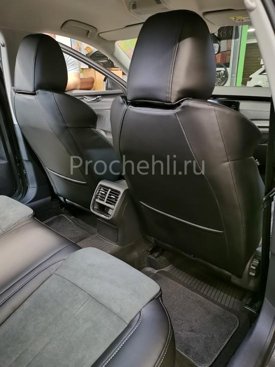 Каркасные авточехлы с эффектом перетяжки салона для Skoda Octavia A8 из черной экокожи с алькантарой №9