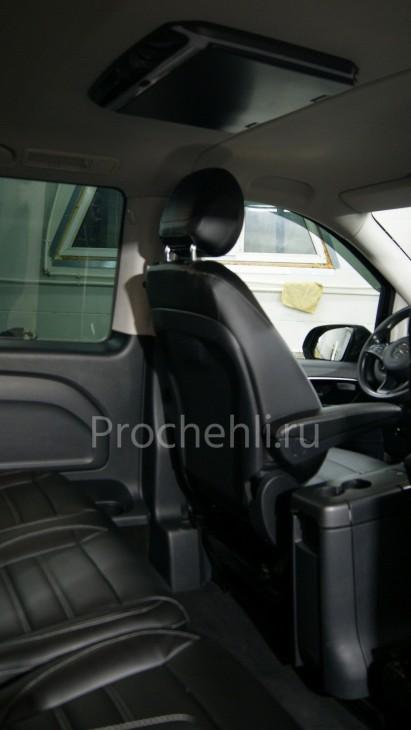 Каркасные авточехлы с эффектом перетяжки салона для Mercedes Vito/V-klasse (W447) из черной экокожи с двойной строчкой №3