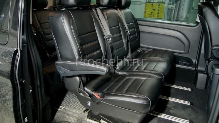 Каркасные авточехлы с эффектом перетяжки салона для Mercedes Vito/V-klasse (W447) из черной экокожи с двойной строчкой №4