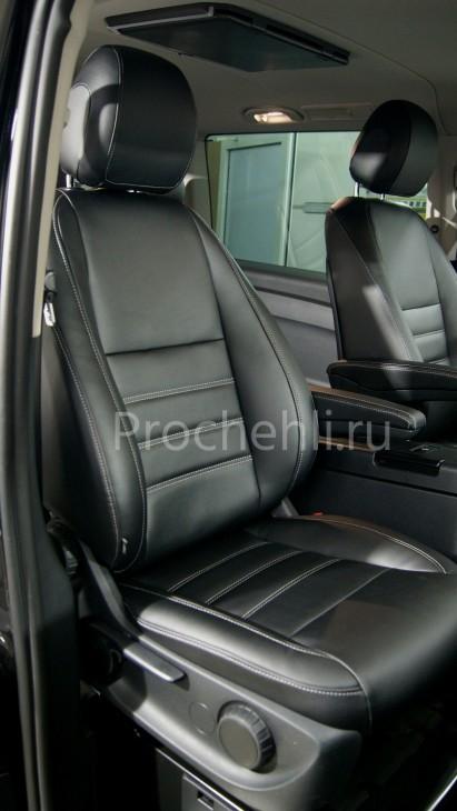 Каркасные авточехлы с эффектом перетяжки салона для Mercedes Vito/V-klasse (W447) из черной экокожи с двойной строчкой №2