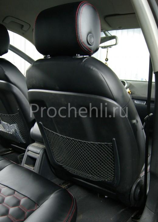 Чехлы на Audi A3 8P с эффектом перетяжки салона из черной экокожи с отстрочкой сотами №6