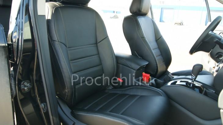 Чехлы на Nissan Qashqai 2 из черной экокожи №2
