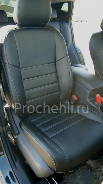 Чехлы на Nissan Qashqai 2 из черной экокожи №3