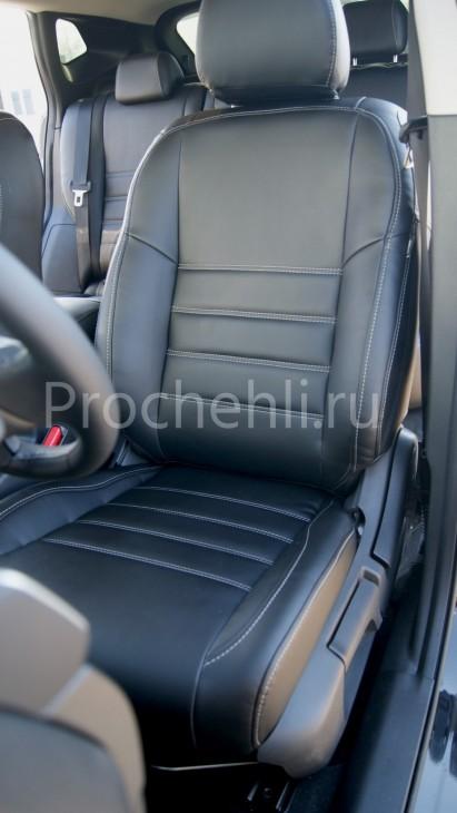 Чехлы на Nissan Qashqai 2 из черной экокожи №4