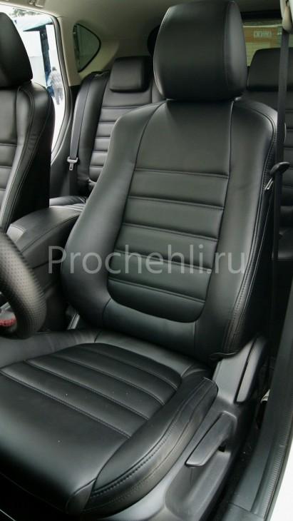 Чехлы с эффектом перетяжки из черной экокожи на Mazda Cx-5 №2