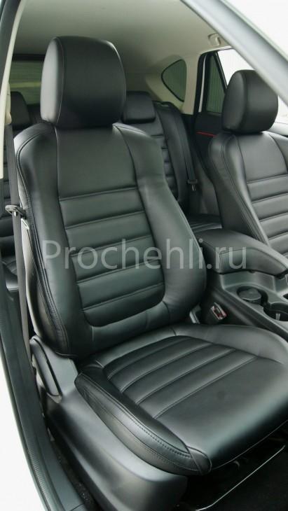 Чехлы с эффектом перетяжки из черной экокожи на Mazda Cx-5 №3