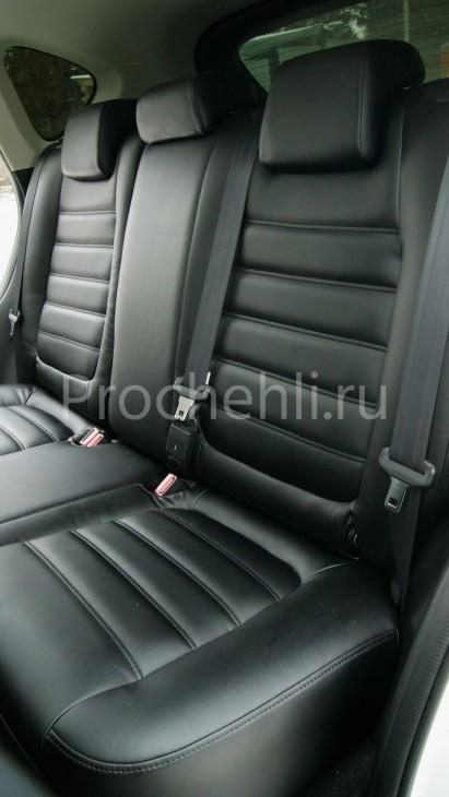 Чехлы с эффектом перетяжки из черной экокожи на Mazda Cx-5 №4