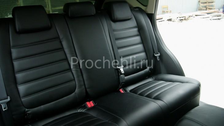 Чехлы с эффектом перетяжки из черной экокожи на Mazda Cx-5 №5