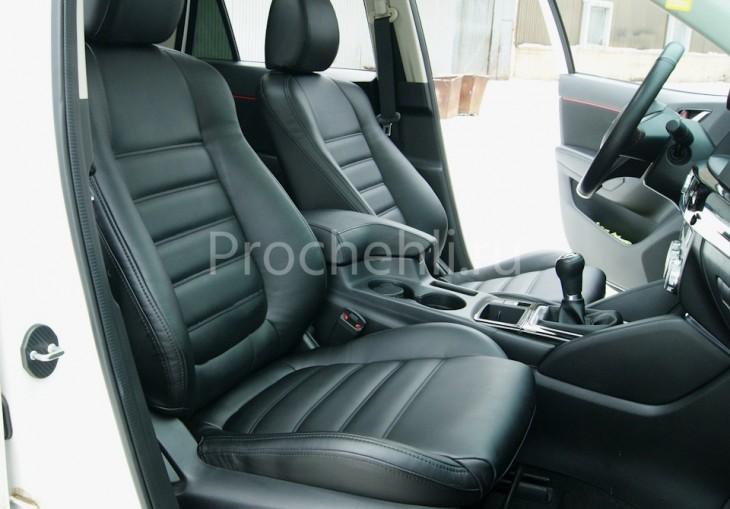 Чехлы с эффектом перетяжки из черной экокожи на Mazda Cx-5 №6