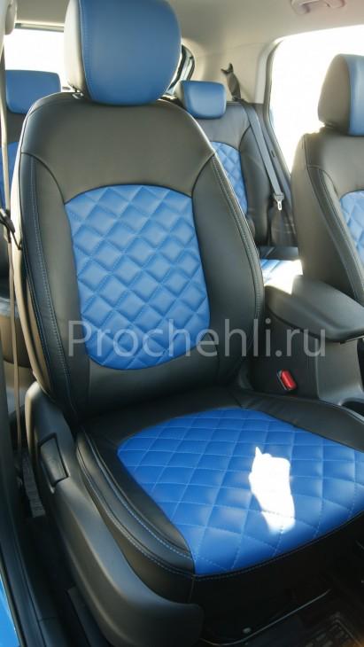 Чехлы на Hyundai Creta с эффектом перетяжки из черной и синей экокожи с отстрочкой ромб №1
