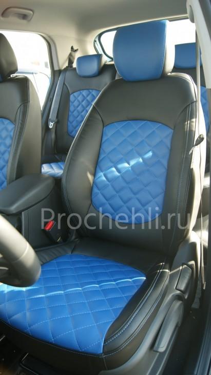 Чехлы на Hyundai Creta с эффектом перетяжки из черной и синей экокожи с отстрочкой ромб №2