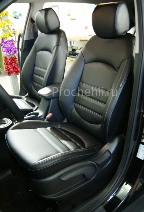 Чехлы на Hyundai Creta с эффектом перетяжки из черной экокожи №3