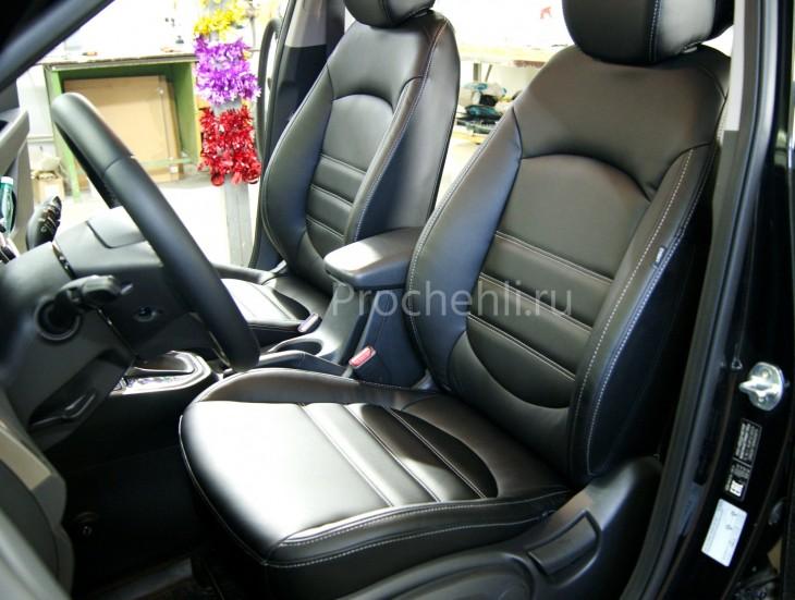 Чехлы на Hyundai Creta с эффектом перетяжки из черной экокожи №1