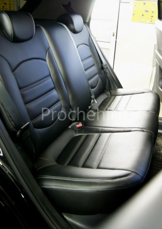 Чехлы на Hyundai Creta с эффектом перетяжки из черной экокожи №4
