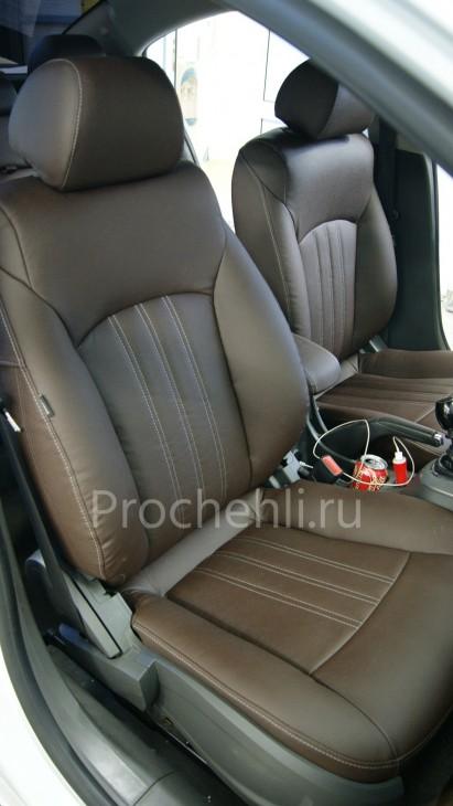 Чехлы на Chevrolet Cruze c эффектом перетяжки из темно-коричневой экокожи с грубой фактурой №2