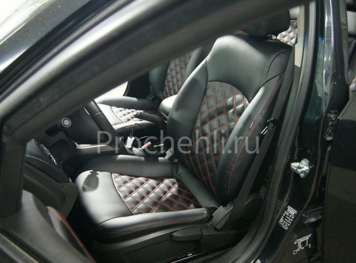 Чехлы на Chevrolet Cruze c эффектом перетяжки из черной экокожи с двойным ромбом №3