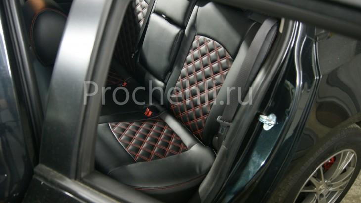 Чехлы на Chevrolet Cruze c эффектом перетяжки из черной экокожи с двойным ромбом №4