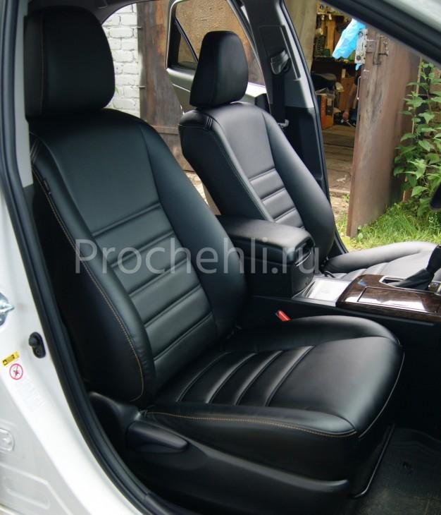 Чехлы на Toyota Camry 7 с эффектом перетяжки салона из черной экокожи с двойной строчкой №3