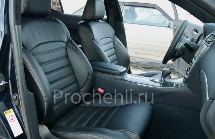 Каркасные чехлы на Lexus IS с эффектом перетяжки салона из черной экокожи №1.