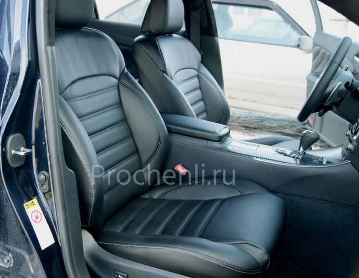 Каркасные чехлы на Lexus IS с эффектом перетяжки салона из черной экокожи №2