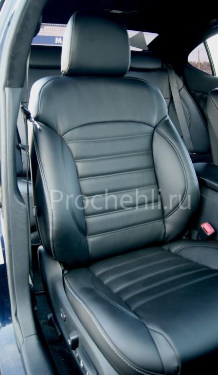 Каркасные чехлы на Lexus IS с эффектом перетяжки салона из черной экокожи №3