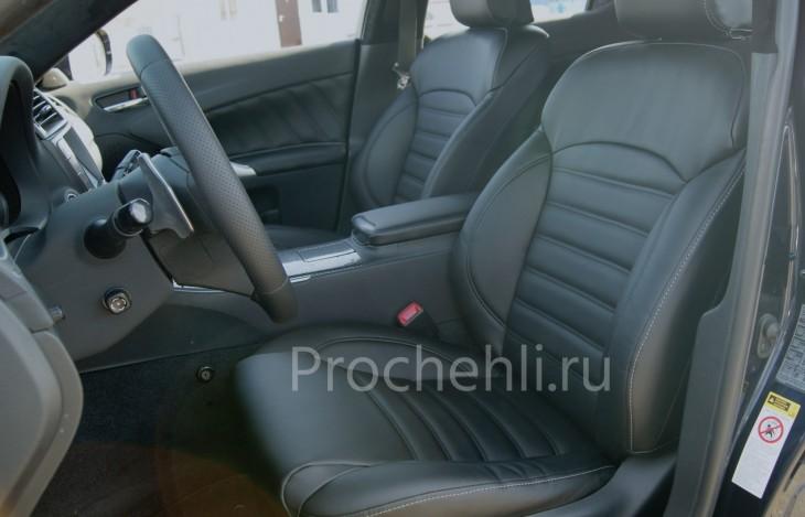 Каркасные чехлы на Lexus IS с эффектом перетяжки салона из черной экокожи №4