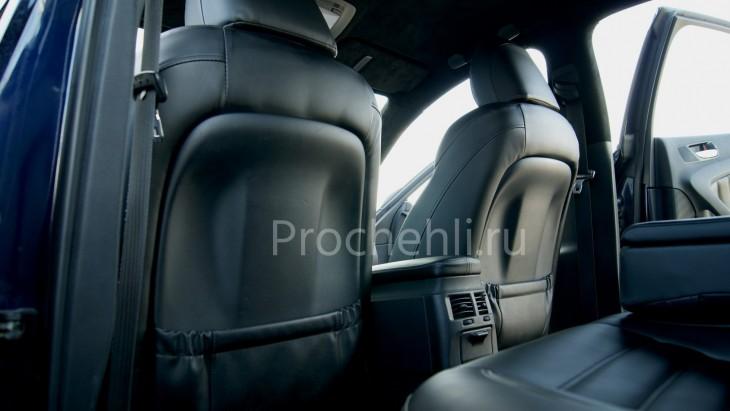 Каркасные чехлы на Lexus IS с эффектом перетяжки салона из черной экокожи №5