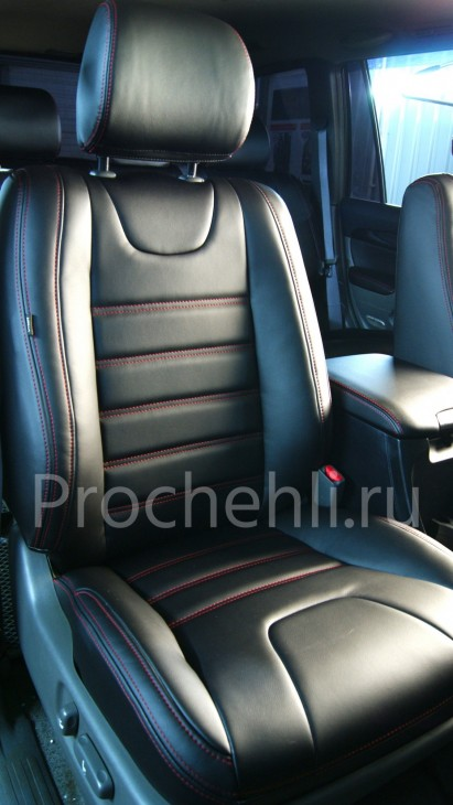 Чехлы на Toyota LC Prado 120 с эффектом перетяжки салона из черной экокожи №2