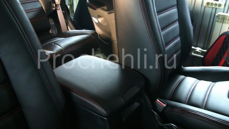 Передний подлокотник Toyota LC Prado 120 из черной экокожи