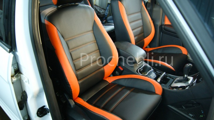 Чехлы на Ford S-Max с эффектом перетяжки из черной и оранжевой экокожи №1