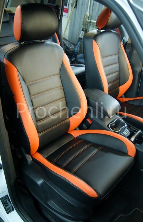 Чехлы на Ford S-Max с эффектом перетяжки из черной и оранжевой экокожи №2
