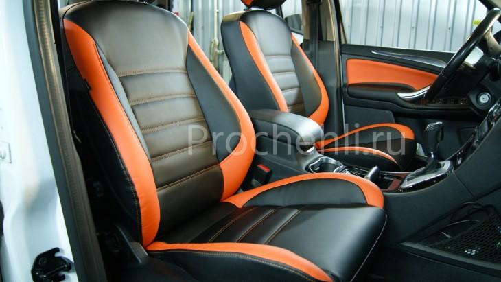Чехлы на Ford S-Max с эффектом перетяжки из черной и оранжевой экокожи №3