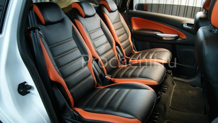 Чехлы на Ford S-Max с эффектом перетяжки из черной и оранжевой экокожи №5