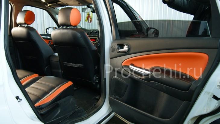 Чехлы на Ford S-Max с эффектом перетяжки из черной и оранжевой экокожи №10