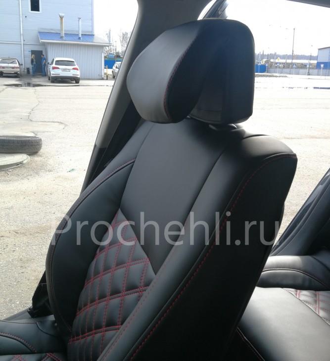 Авточехлы из черной экокожи с отстрочкой двойным ромбом на Renault Laguna 3 №4