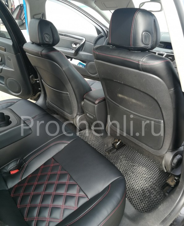 Авточехлы из черной экокожи с отстрочкой двойным ромбом на  Renault Laguna 3 №2