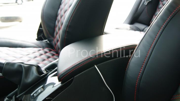 Авточехлы из черной экокожи с отстрочкой двойным ромбом на  Renault Laguna 3 №8